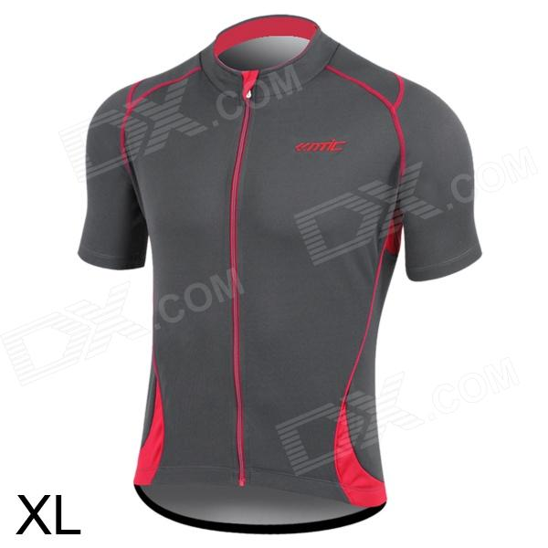 Santic MC02031 Bicycle Cycling Dacron Short Sleeves Jersey for Men - Grey + Red (XL) veobike men long sleeves hooded waterproof windbreak sunscreen outdoor sport raincoat bike jersey bicycle cycling jacket