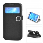 HELLO DEERE Protective PU Leather Case w/ Display Window for Samsung Galaxy S4 - Black