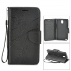 Protective PU + TPU Case w/ Stand / Strap / Card Slots for Samsung Note 3 / N9005 - Black