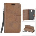Protective PU + TPU Case w/ Stand / Strap / Card Slots for Samsung Note 3 / N9005 - Brown