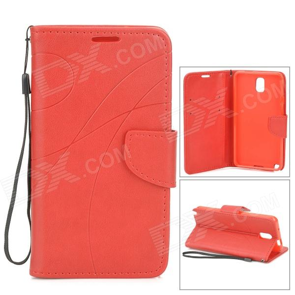 Protective PU + TPU Case w/ Stand / Strap / Card Slots for Samsung Note 3 / N9005 - Red protective flip open pu case w stand card slots strap for samsung galaxy note 3 n9000 white