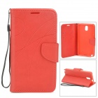 Protective PU + TPU Case w/ Stand / Strap / Card Slots for Samsung Note 3 / N9005 - Red