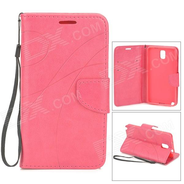Protective PU + TPU Case w/ Stand / Strap / Card Slots for Samsung Note 3 / N9005 - Deep Pink cover case for sony x compact x mini half a face of a cat pu tpu leather with stand and card slots magnetic closure
