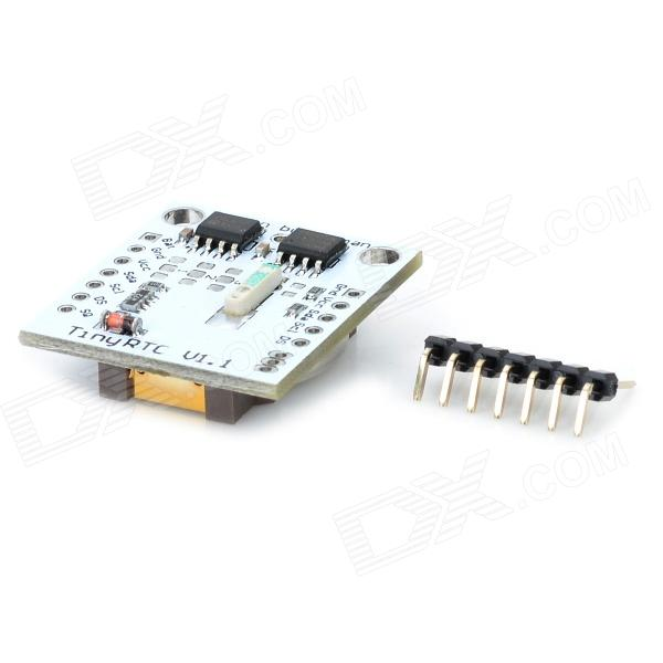 Tiny RTC I2C Module w/ 24C32 Memory + DS1307 Clock - White (Works w/ Official Arduino Products)