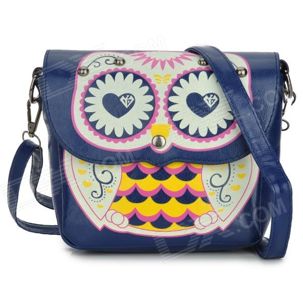 Cute Owl Pattern PU Leather Women's Shoulder Bag - Deep Blue