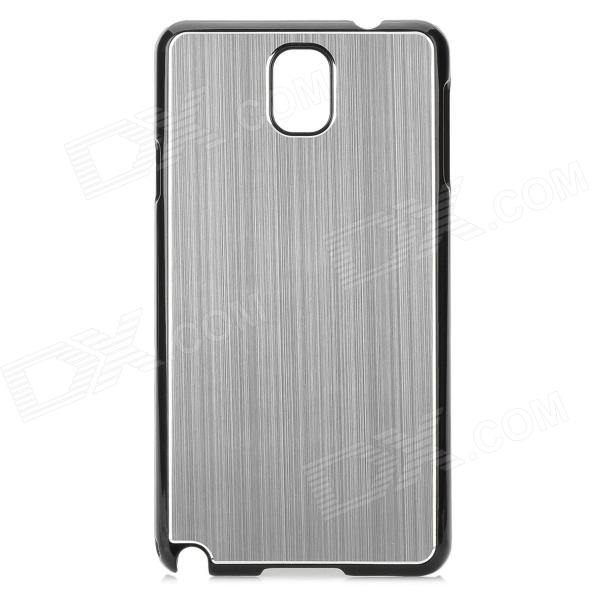 Protective PC + Brushed Aluminum Alloy Back Case for Samsung Galaxy Note 3 N9000 - Silver + Black protective aluminum alloy pc back case for samsung galaxy note 3 n9000 more purple black