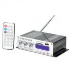 HY-502 160W 2-CH Hi-Fi MP3 Amplifier w/ FM / SD / USB for Car / Motorcycle - Black + Silver (16G)