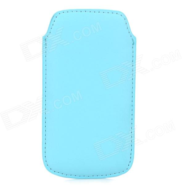 Protective PU Leather Pouch Bag Case for Samsung i9190 / S4 Mini - Light Blue