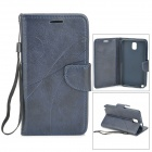 Protective PU + TPU Case w/ Stand / Strap / Card Slots for Samsung Note 3 / N9005 - Deep Blue