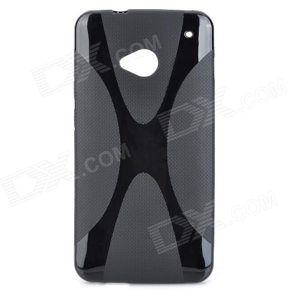 Protective TPU Back Case for HTC One 802W - Black matte protective pe back case for htc one x s720e red