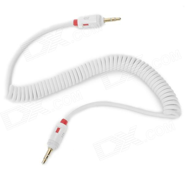 JD 014 3.5mm Male to Male Car Audio Connection AUX Spring Cable - White