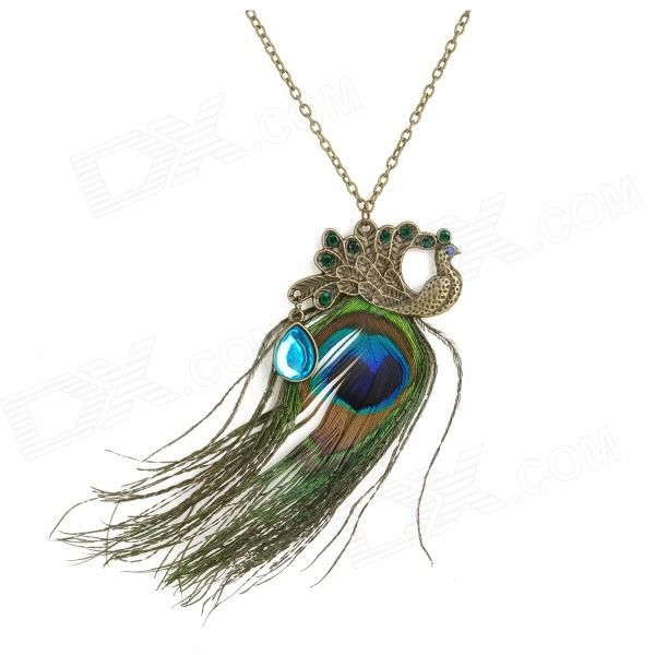 Peacock Feathers Style Long Gold Plating Necklace for Men - Bronze + Blue + Green
