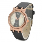 7817 Elegant Women's Quartz Wrist Watch w/ PU Belt - Black + Golden( 1 x 337 battery included)