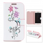 Flower Pattern Diamond Encrusted Flip Open Case w/ Stand for Samsung S4 - White + Deep Pink + Purple
