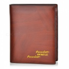 Fashion Men's Cattlehide Folding Wallet - Brown