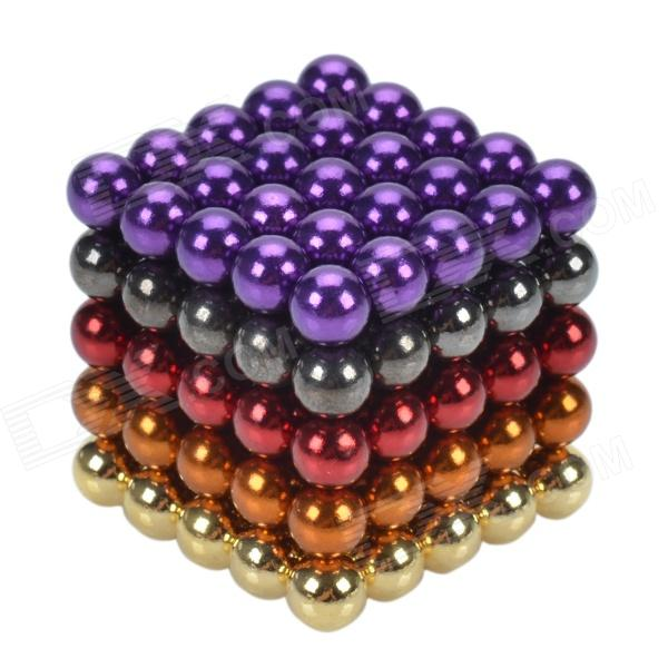 CHEERLINK ZU-125 5mm Neodymium Iron DIY Educational Toys Set - Golden + Red + Purple (125 PCS) cheerlink xb 01 3mm diy magnet balls neodymium iron educational toys set silver white 432 pcs