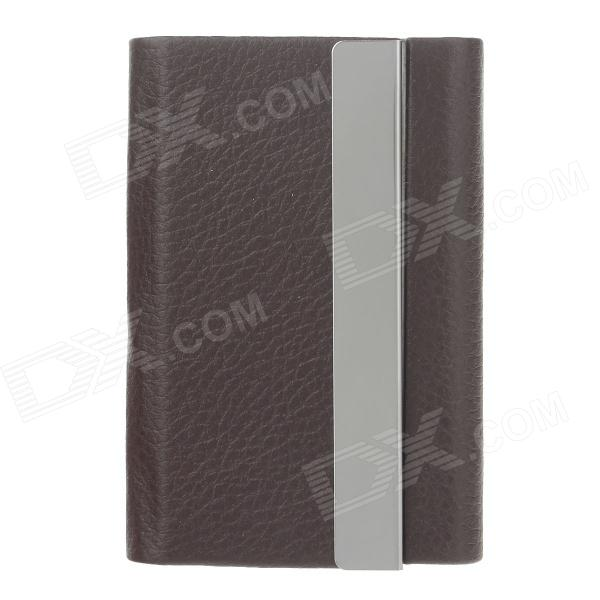 High Grade Lichee Pattern Portable Cigarette Case / Card Holder - Brown (Holds 7 PCS)