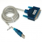 iTaSee IT25 USB 2.0 Male to Parallel DB25 Female Converter Adapter Cable - White + Blue (125cm)