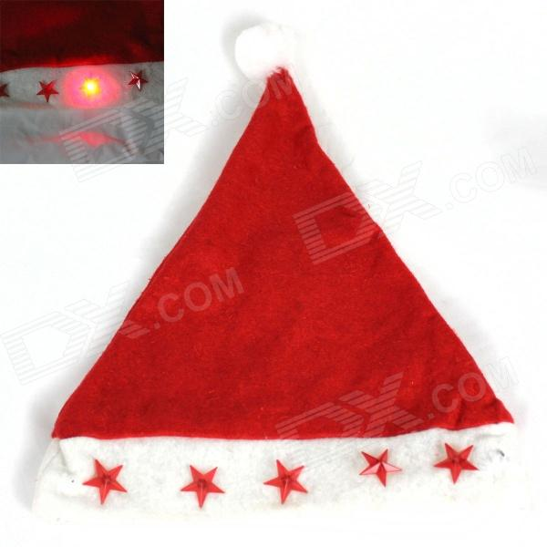 Stunning 5-LED Red Light Christmas Hat- Red + White (2 x LR44)