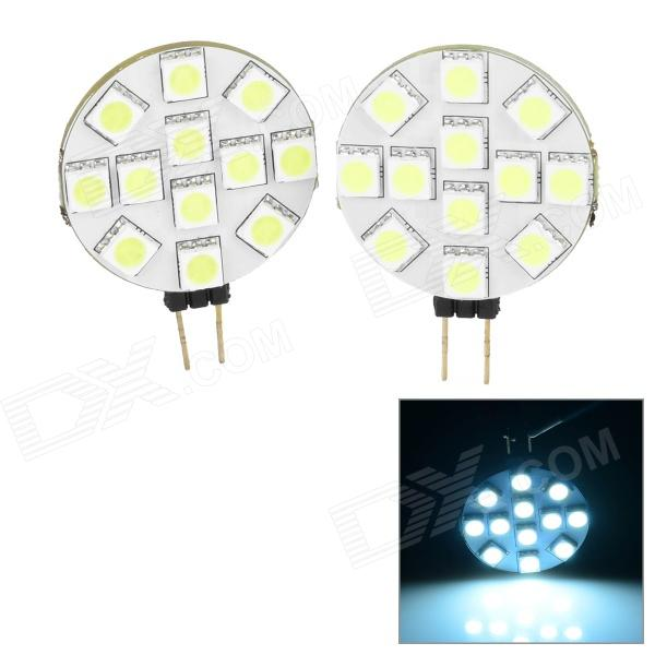 G4 2.4W 200lm 6500K 12-5050 SMD LED White Light Car Reading Lamps - White + Yellow ( 2 PCS / 12V) lx 3w 250lm 6500k white light 5050 smd led car reading lamp w lens electrodeless input 12 13 6v