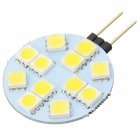 G4 2.4W 190lm 3300K 12-5050 SMD LED Warm White Light Car Reading Lamp - White + Yellow (12V / 2PCS)
