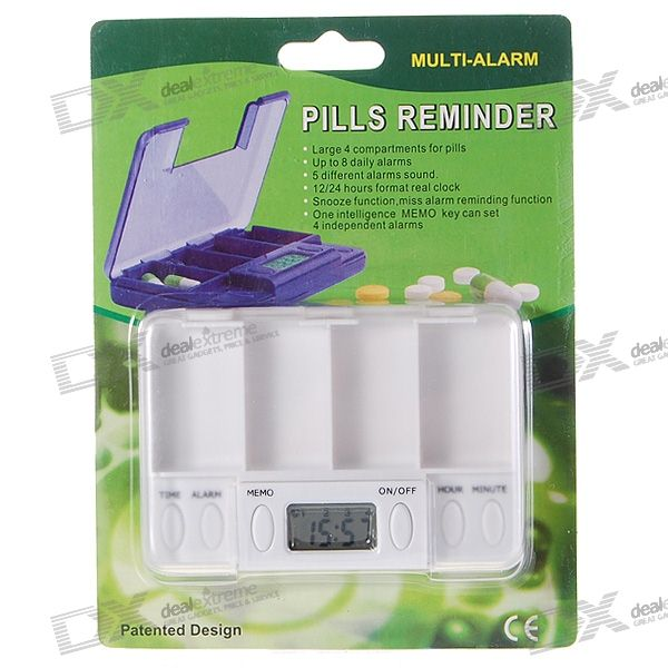Digital Medicine Timing Reminder Box (4-Pill Compartments/8 Daily Alarms)