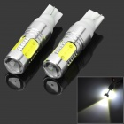 2.5w 220lm 6500k T10 White Dashboard Lamp w/ 1 x Cree + 4 x COB LED for Car - Yellow + Silver