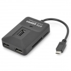 Micro USB Male to 3-Port USB 2.0 Port + Card Reader OTG Combo for Samsung / HTC + More - Black
