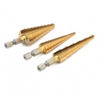 Am-Tech F0785 Titanium Coating HSS Step Drill Tool Set - Golden (3 PCS)
