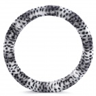 Leopard Pattern Car Steering Wheel Cover - White + Black + Grey