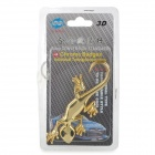 Gecko Style Zinc Alloy Car Decorative Stickers - Golden (2 PCS)