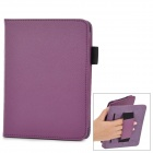 Protective Litchi Pattern PU Case w/ Hand Strap for Amazon Kindle Paper White K5 - Purple