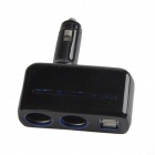 SHUNWEI SD-1918 Rotatable Dual USB Dual Car Cigarette Lighter Charger Adapter - Black + Blue