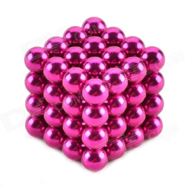 ZQ-64 ZQ-64 5mm Neodymium Iron DIY Educational Toys Set - Deep Pink (64 PCS)