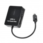 5-in Micro USB TF / Micro SD / Mini SD / SDHC / MMC Card Reader for Samsung - Black