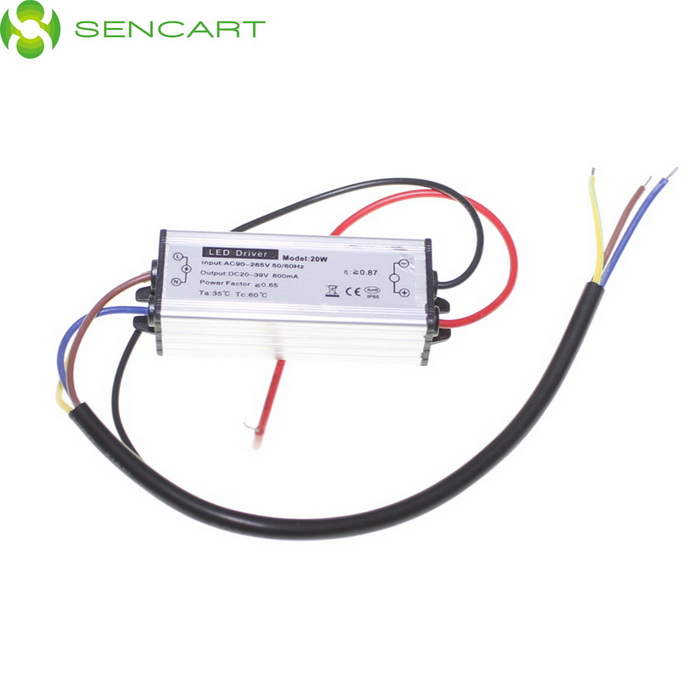 SENCART 20W Waterproof LED Driver Power Source (AC 176~265V) 90w led driver dc40v 2 7a high power led driver for flood light street light ip65 constant current drive power supply