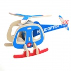 Robotime P240 DIY Wooden Mosaic Solar Energy Plane Transport Helicopter-  Red+Yellow