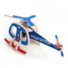 Robotime P240 DIY Wooden Mosaic Solar Energy Plane Transport Helicopter - Blue + Red