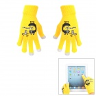 Cotton Warm 3-Finger Capacitive Screen Touching Gloves - Yellow + Black + Grey (Pair)