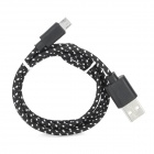 USB Male to Micro USB Male Woven Data Charging Cable for Cell Phone - Black (95 cm)