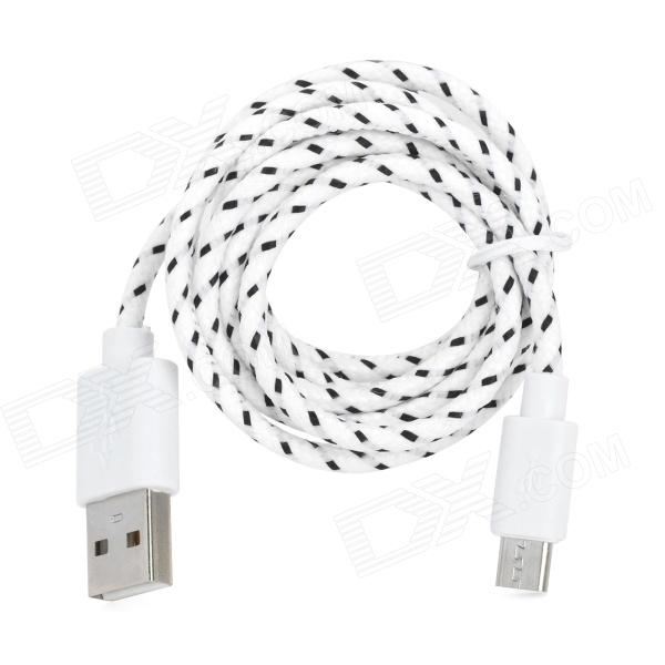 USB Male to Micro USB Male Woven Data Charging Cable for Cell Phone - White + Black (95 cm) usb male to micro usb male data charging cable for samsung htc sony xiaomi lg more black
