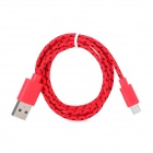 USB Male to Micro USB Male Woven Data Charging Cable for Cell Phone - Red + Black (95 cm)