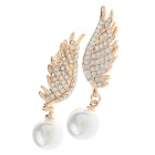 Fashionable Angel Wings Style Pearl Decoration Earrings for Women - Golden + White (Pair)