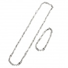 HBD0474 Vogue Titanium Steel Men's Necklace + Bracelet - Silver