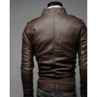 Fashionable PU Leather Zipper Slim Fit Men's Coat - Brown (Size-XL)
