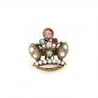 Vintage Colorful Dominate Crown Style Zinc Alloy Ringent Ring - Multicolored