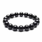 eQute BGEW5 Natural 10mm Width Round Bead Jet Stone Stretch Bracelet for Women - Black