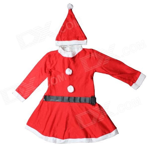 Child Girl Plays Santa Claus Dress Set - Red + White