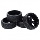 82B-803 Replacement Plastic + Rubber Wheel for 1:8 SUV Car - Black (4 PCS)