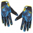 Santic C09014 Bicycle Cycling Full-finger Gloves - Black + Blue (L)